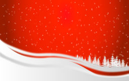 Christmas background. Christmas red background with snow and trees Royalty Free Stock Photos