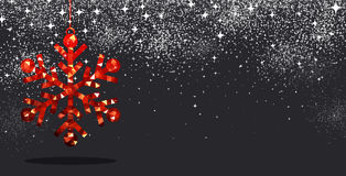 Christmas background with red snowflake. Black winter background with red Christmas snowflake. Vector illustration Royalty Free Stock Photo