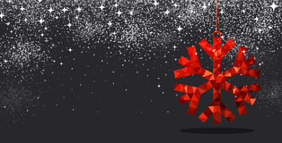 Christmas background with red snowflake. Black winter background with red Christmas snowflake. Vector illustration Royalty Free Stock Images