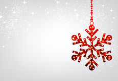 Christmas background with red snowflake. Winter background with red Christmas snowflake. Vector illustration Royalty Free Stock Images