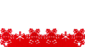 Christmas background with red snowflakes and copy space isolated on white background Royalty Free Stock Photo