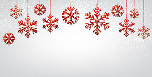 Christmas background with red snowflakes. Winter background with red Christmas snowflakes. Vector illustration Royalty Free Stock Images