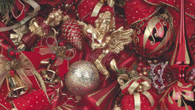 Christmas decoration. Christmas background red with some decoration ball royalty free stock image