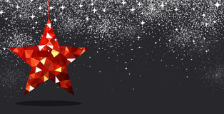 Christmas background with red star. Black festive Christmas background with red star. Vector illustration Stock Photos
