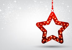 Christmas background with red star. Festive Christmas background with red star. Vector illustration Stock Image
