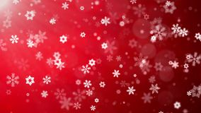 Christmas background red theme , with glittering snowflakes falling and lights