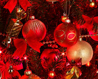 Christmas background with red tree. Christmas background with red and gold ball. Abstract stock photography