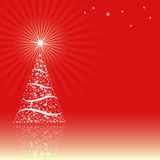 Christmas background. Red background with Christmas tree Stock Image