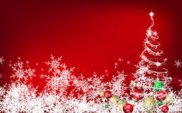 Christmas background. Red Christmas background with white tree and balls Royalty Free Stock Photos