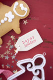 Christmas background on red wood table. Royalty Free Stock Photography