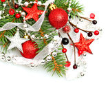 Christmas background with red Xmas decoration Royalty Free Stock Photos