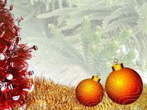 Christmas background with red and yellow ornament on a Christmas tree textured background. vector illustration