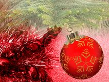 Christmas background with red and yellow ornament on a red glitter background. royalty free stock photography