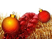 Christmas background with red and yellow ornament on a white background. royalty free illustration