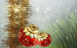 Christmas background with red and yellow ornament on a white textured background. royalty free stock images