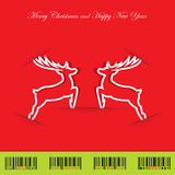 Christmas background with reindeer. And christmas bar-code. Vector illustration Royalty Free Stock Photography