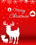 Christmas Background With Reindeer & Baby Reindeer Royalty Free Stock Images