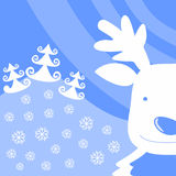 Christmas background with reindeer. Face and Christmas trees Vector Illustration