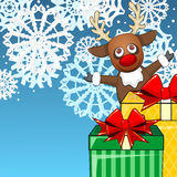 Christmas background with reindeer and presents Royalty Free Stock Photos