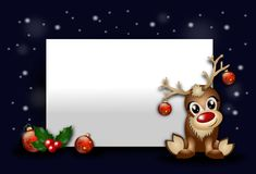 Christmas background with reindeer. Red christmas background with blank table and cute reindeer Stock Image