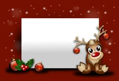 Christmas background with reindeer. Red christmas background with blank table and cute reindeer Stock Photography
