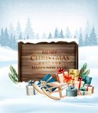 Christmas background with a retro wooden sign. And gift boxes. Vector stock illustration