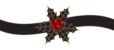 Christmas background with ribbon and holly royalty free stock photos