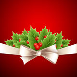 Christmas background with ribbon and holly Royalty Free Stock Photography