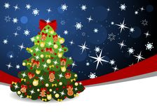 Christmas background with ribbon and tree Royalty Free Stock Image