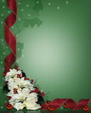 Christmas Background Ribbons. Illustration and image composition for Christmas background, greeting card, border or invitation with poinsettias and ribbons, copy Royalty Free Stock Image