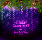 Christmas background with ribbons. Christmas dark purple background with ribbon decoration stock illustration