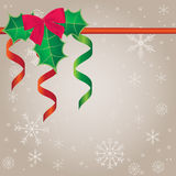 Christmas background with ribbons and holly berry Stock Photo