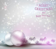 Christmas background with ribbons and shiny christmas baubles Stock Images
