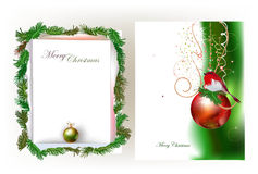 Christmas background with ripped paper and ball Stock Photography