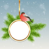 Christmas background with round banner Stock Photos