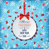 Christmas background with round place. For text and red confett Royalty Free Stock Photography