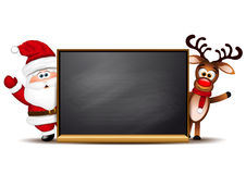 Christmas background Rudolph reindeer and Santa Stock Photos