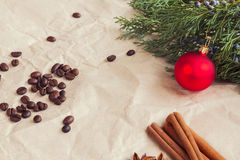 Christmas background. Rustic Christmas background with coffee and cinnamon Royalty Free Stock Photos