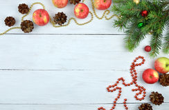 Christmas background in rustic style. Natural elements for celeb Stock Image