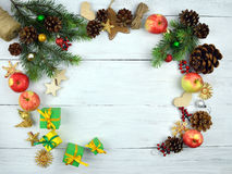 Christmas background in rustic style. New Year. Top view. Stock Images