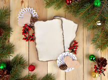 Christmas background in rustic style.  Winter in the village. Royalty Free Stock Photo