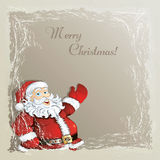 Christmas background with Santa. Christmas vintage background with cute cartoon Santa in the frozen frame Stock Photography