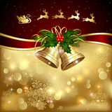 Christmas background with Santa and bells Royalty Free Stock Images