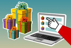 Christmas background. Santa buying online Royalty Free Stock Photography