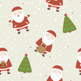Christmas background with Santa and christmas tree Stock Images