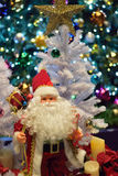 Christmas background with Santa Claus & blurred lights Royalty Free Stock Photo