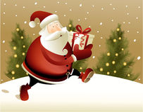 Christmas background with Santa Claus. Bringing a gift Stock Photography