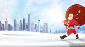 Christmas Background Santa Claus Carry Sack Of Presents Over Winter City Landscape Holidays Concept. Flat Vector Illustration Royalty Free Stock Photos