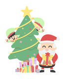Christmas background with Santa claus and Christmas elf Stock Photos