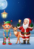 Christmas background with Santa Claus, deer and elf Royalty Free Stock Photo